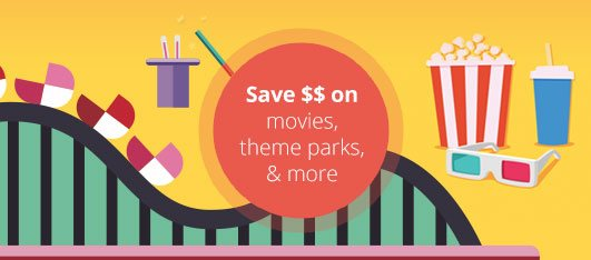 Entertainment discounts for ski resorts, theme parks, movie tickets, events, car rental, gift cards and more!